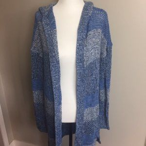 Gap Loose Knit Cardign with Hood - Blue